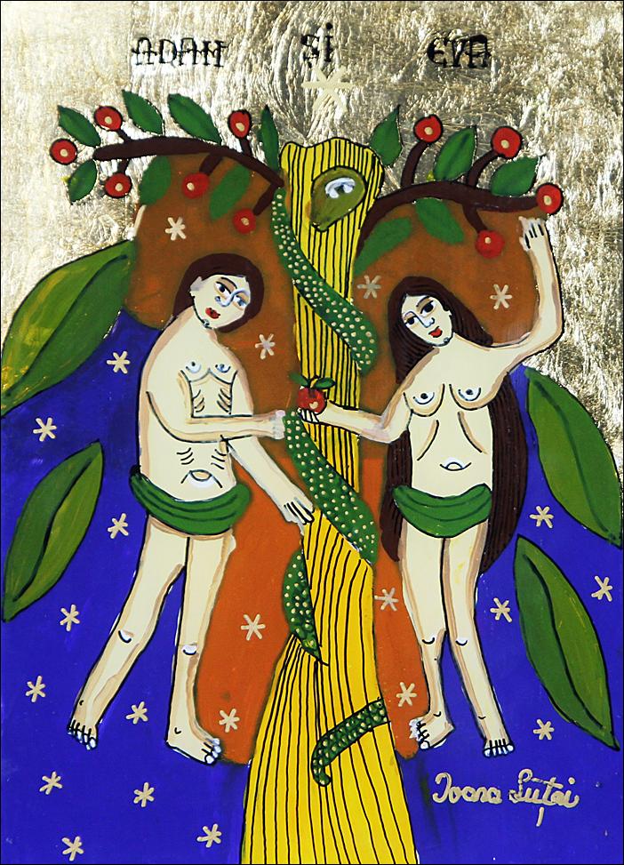 Adam si Eva - Pomul Raiului - Icoane pe sticla Sapanta - Ioana Lutai - foto Cristina Nichitus Roncea