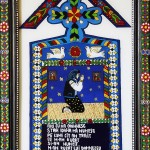 Cruce din Cimitirul Vesel 1 - Icoane pe sticla Sapanta pictate de Ioana Lutai - foto Cristina Nichitus Roncea