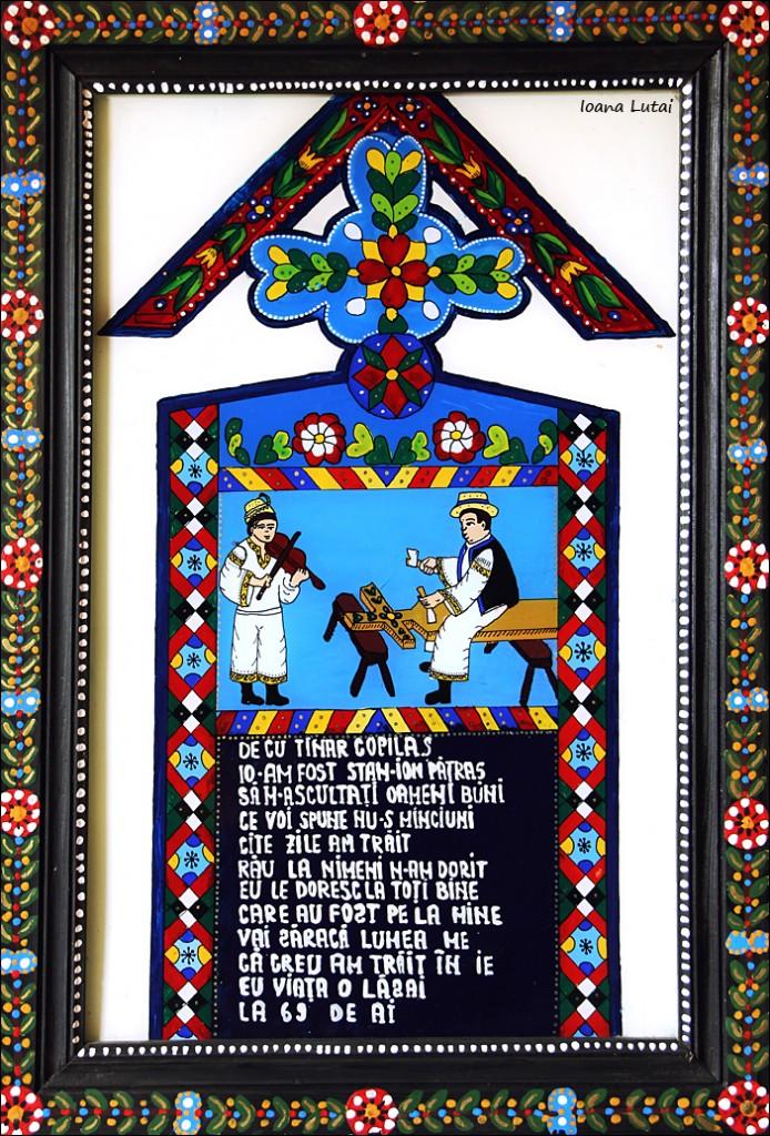 Cruce din Cimitirul Vesel 3 - Icoane pe sticla Sapanta pictate de Ioana Lutai - foto Cristina Nichitus Roncea