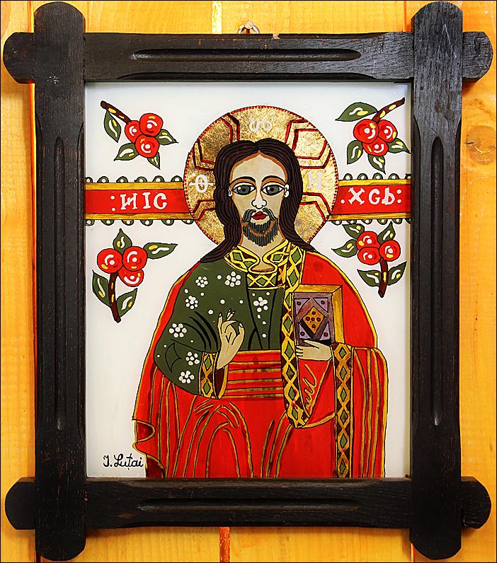 Iisus Hristos - Icoane pe sticla Sapanta - Ioana Lutai - foto Cristina Nichitus Roncea
