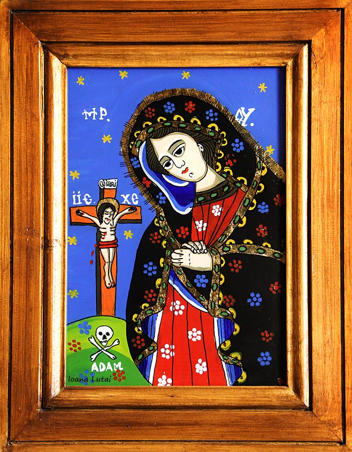 Maica Domnului indurerata - Icoane pe sticla Sapanta - Ioana Lutai - foto Cristina Nichitus Roncea