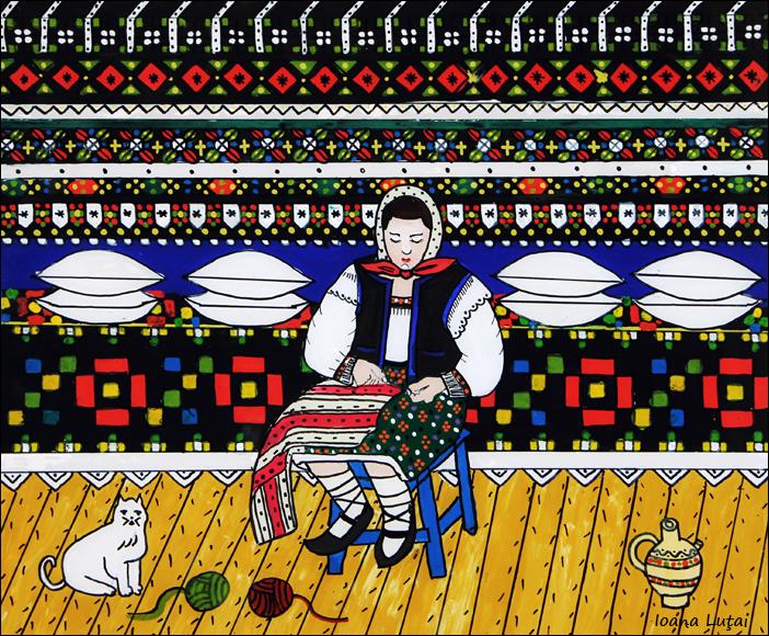 Pictura naiva - Interior din Sapanta Maramures - Ioana Lutai - Icoanepesticla-Sapanta Ro