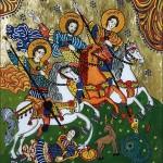 Sfantul Gheorghe, Sfantul Teodor si Sfantul Dimitrie - Icoane pe sticla Sapanta - Ioana Lutai - foto Cristina Nichitus Roncea