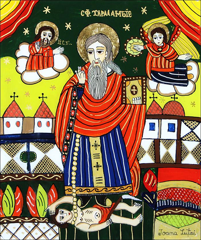 Sfantul Haralambie - Icoane pe sticla Sapanta - Ioana Lutai - foto Cristina Nichitus Roncea