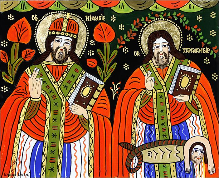 Sfantul Nicolae si Sfantul Haralambie - Icoane pe sticla Sapanta - Ioana Lutai - foto Cristina Nichitus Roncea