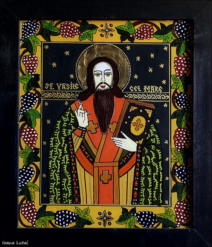 Sfantul Vasile cel Mare - Icoane pe sticla Sapanta - Ioana Lutai - foto Cristina Nichitus Roncea
