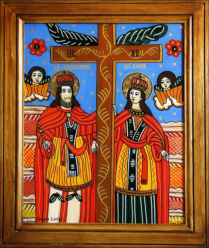 Sfintii Constantin si Elena - Icoane pe sticla Sapanta - Ioana Lutai - foto Cristina Nichitus Roncea