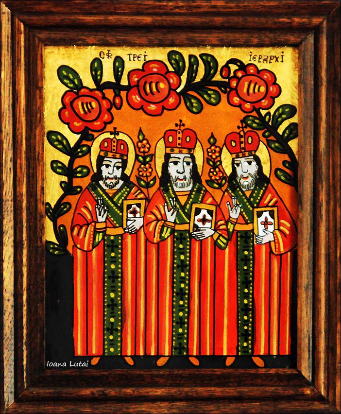 Sfintii Trei Ierarhi - Icoane pe sticla Sapanta - Ioana Lutai - foto Cristina Nichitus Roncea